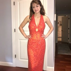 Scala full beaded gown low back size 6